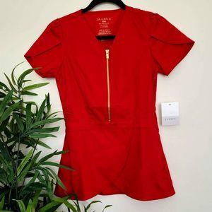 Jaanu Red Scrub Top Gold Zipper XXS